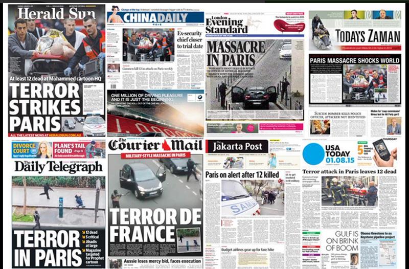 सभी अखबारों में फ़्रांस में हुए हमले की खबर