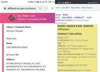 JDU candidate Hari Narayan Singh's wrong age affidavit